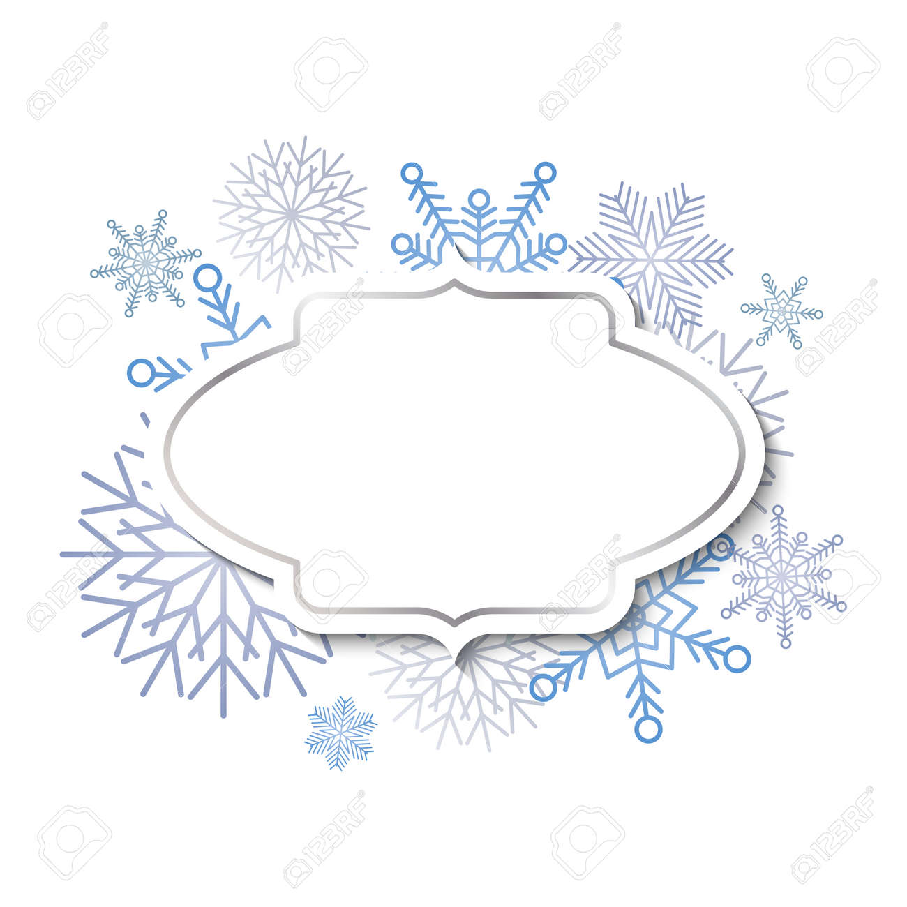 Winter vintage label template with silver frame on blue snowflakes