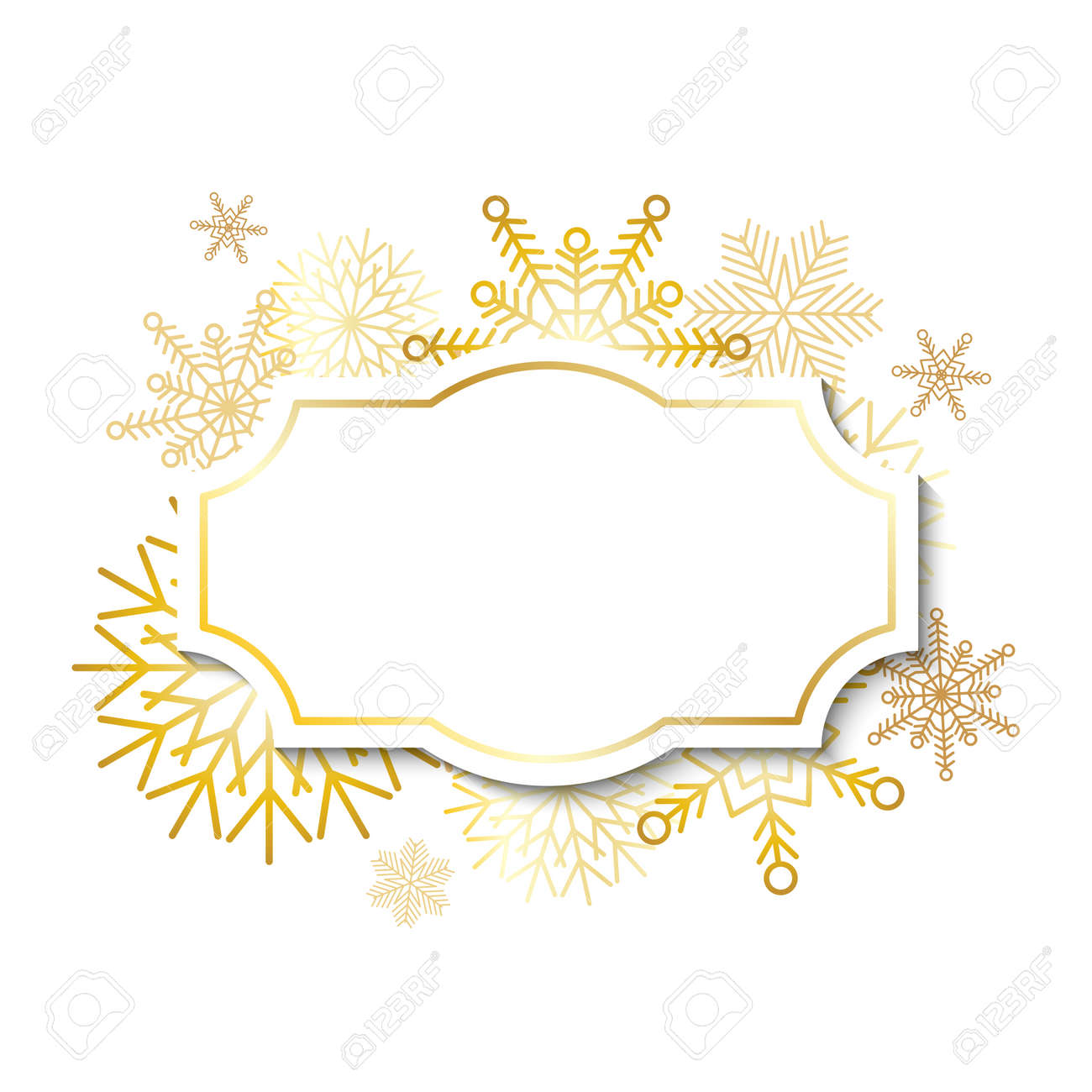 Winter vintage label template with gold frame on gold snowflakes