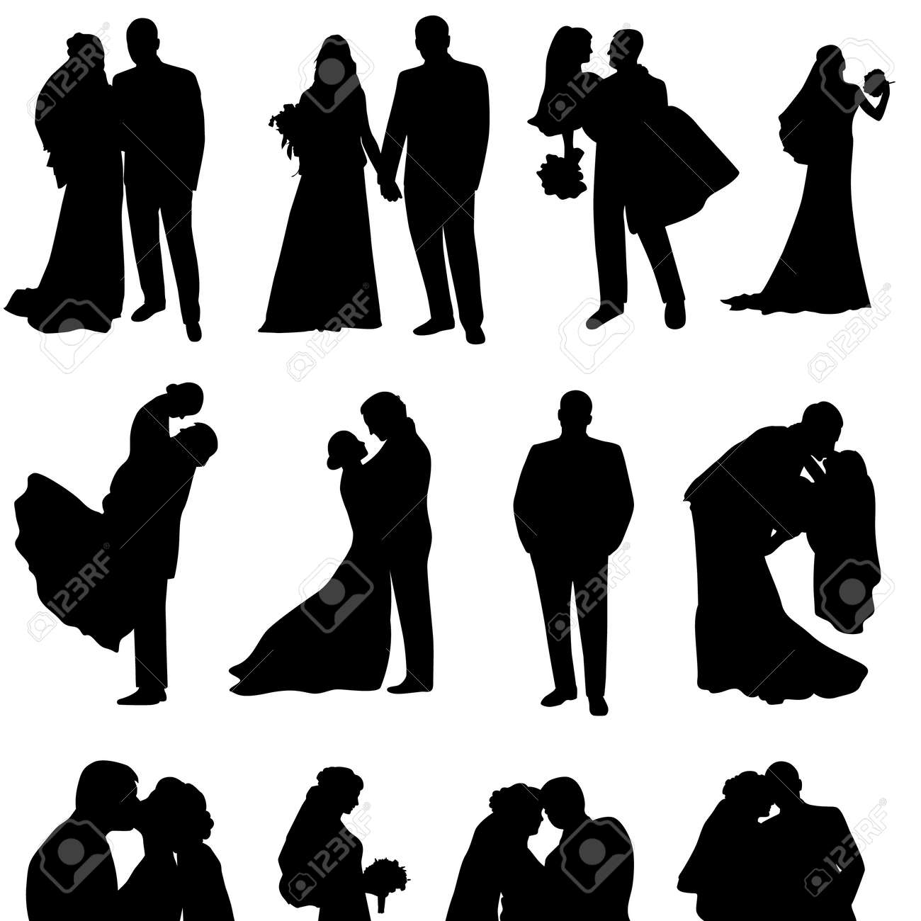Set of vector silhouettes of a groom and a bride.Just married. - 146171753