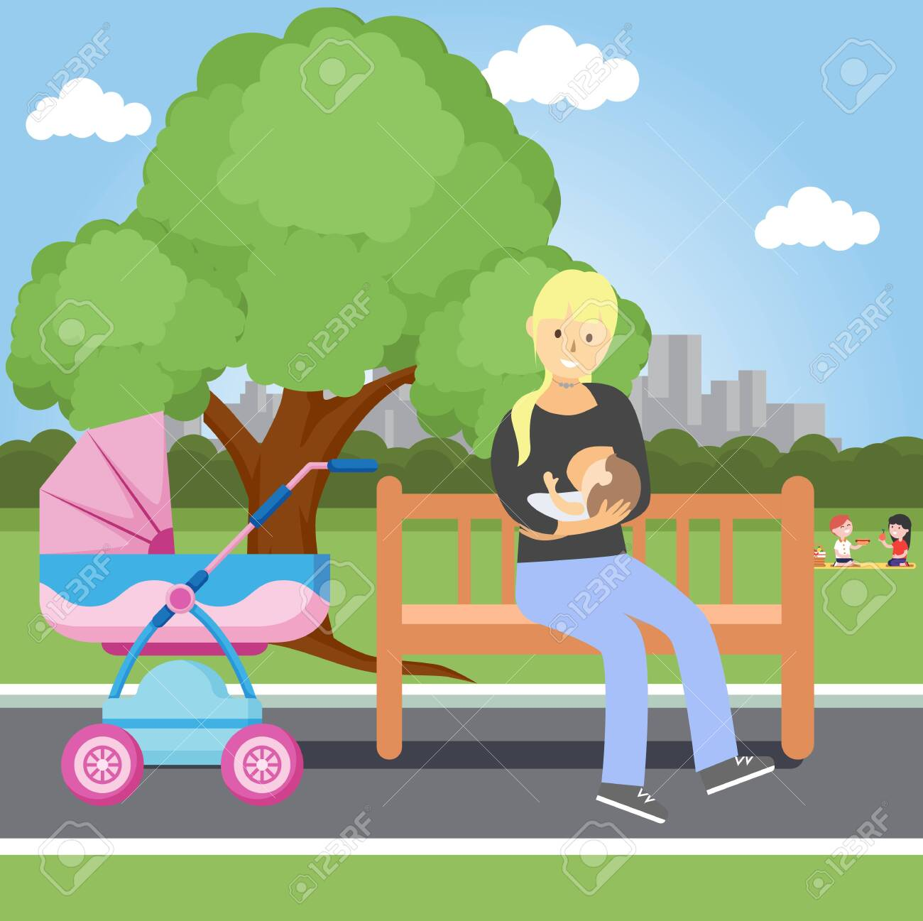 Breastfeeding of a child in a public place. Freedom of women's right to breastfeeding. Vector illustration - 146135640