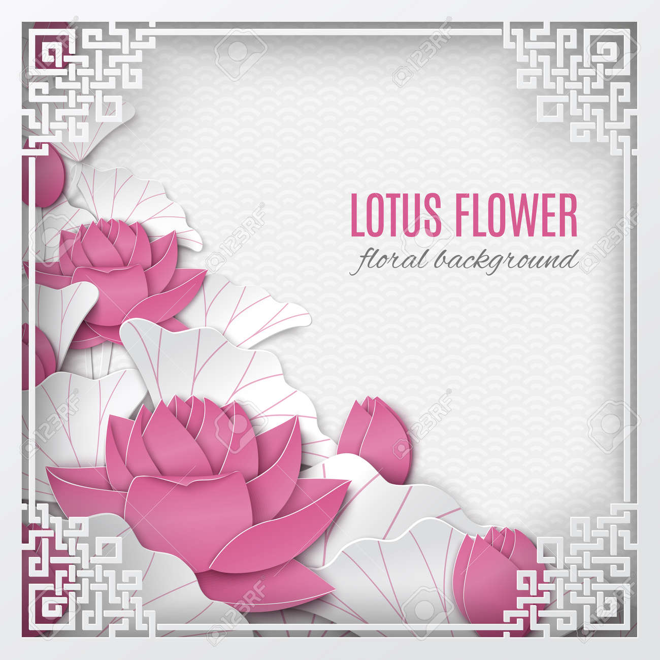 Oriental Floral Background With Pink Lotus Flowers And Ornate