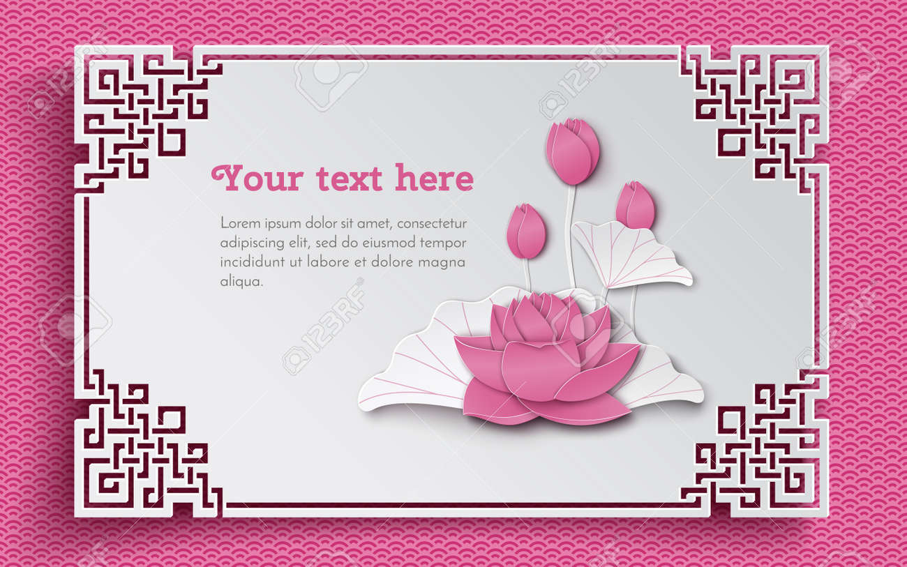 Oriental Floral Pattern With Pink Lotus Flowers And Ornate Cut