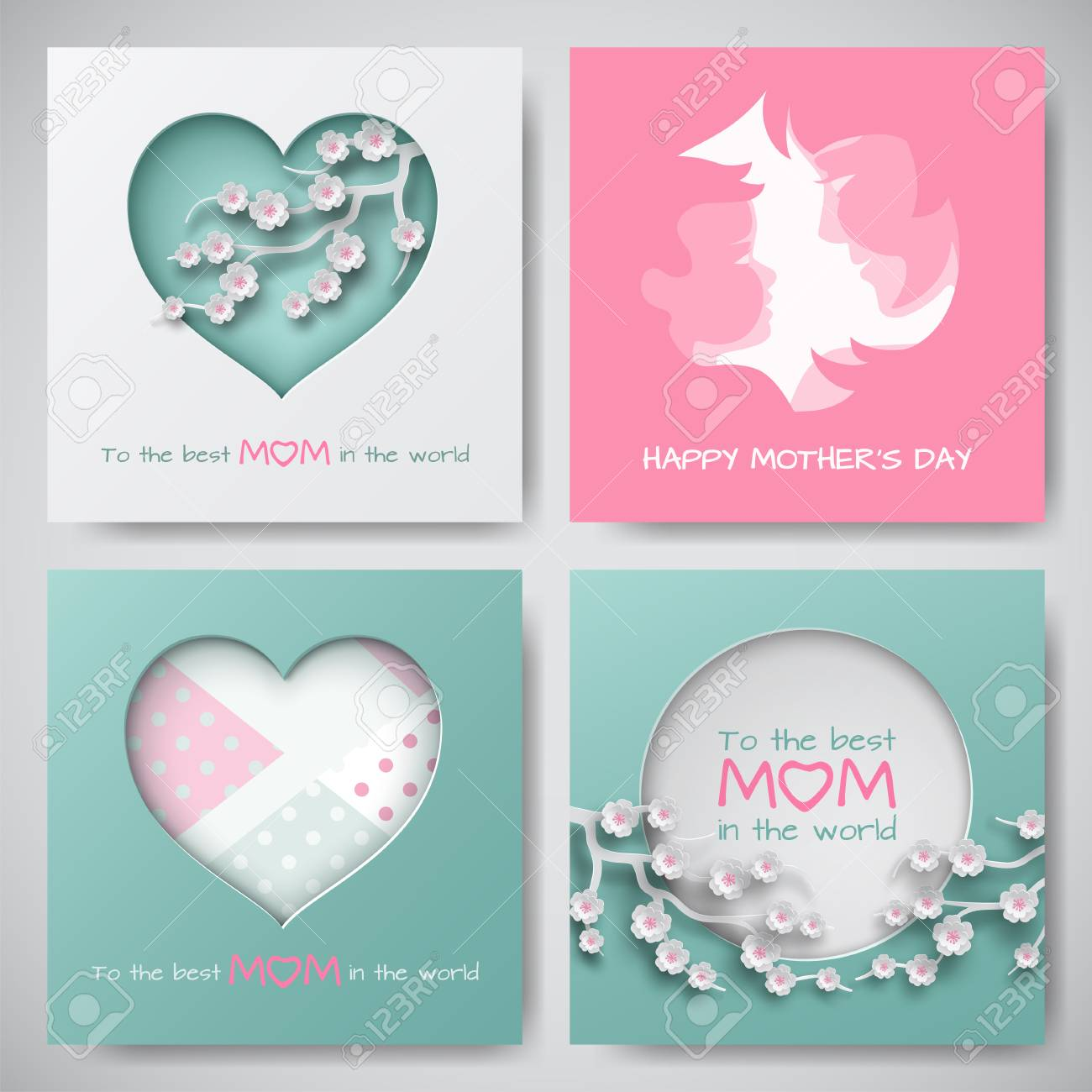 set of greeting cards for mothers day women and baby silhouettes congratulation text