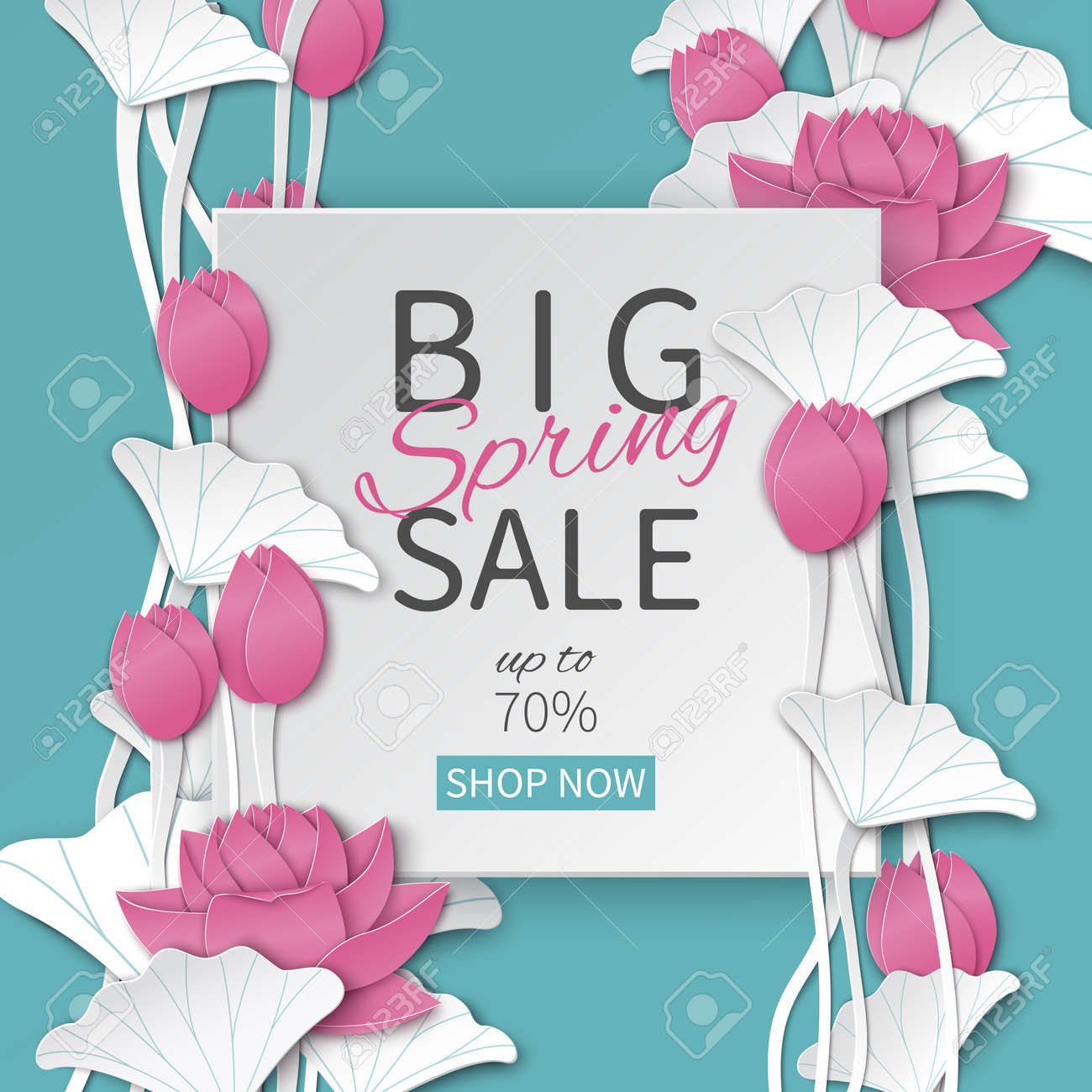 Spring sale floral template with paper frame and blooming pink spring sale floral template with paper frame and blooming pink lotus flowers on blue background for mightylinksfo