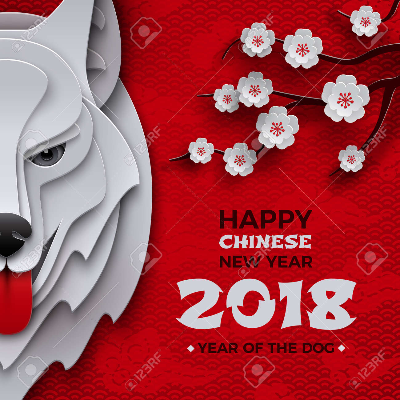 chinese new year banner symbol 2018 year of the dog zodiac sign head