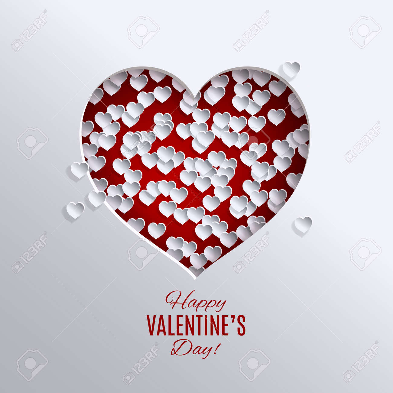 Valentines Day Holiday Design Paper Cut Red Heart Vector