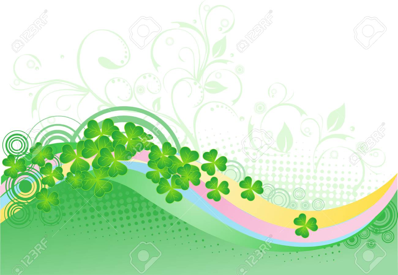 St. patrick's day background with  Four Leaf Clover Stock Vector - 4459730