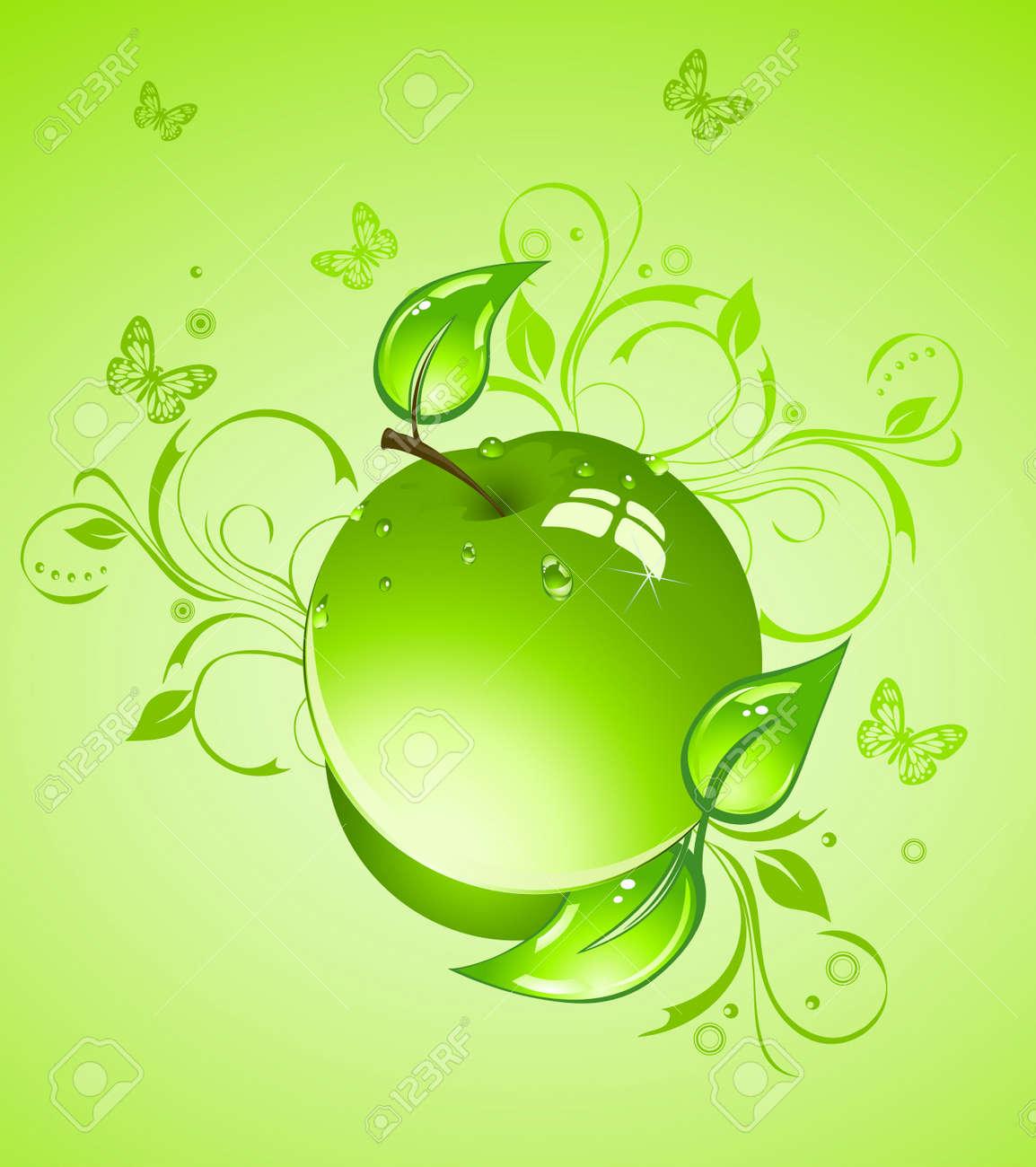Vettoriale Apple Su Uno Sfondo Verde Image 4595683