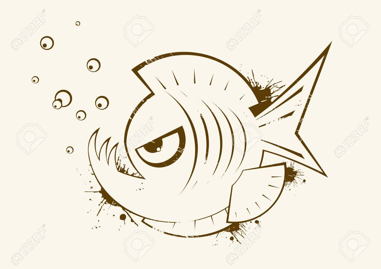 angry fish vintage symbol Stock Vector - 4094680