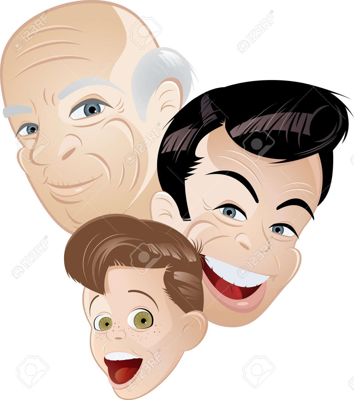 grandpa father and son cartoon Stock Vector - 8842375
