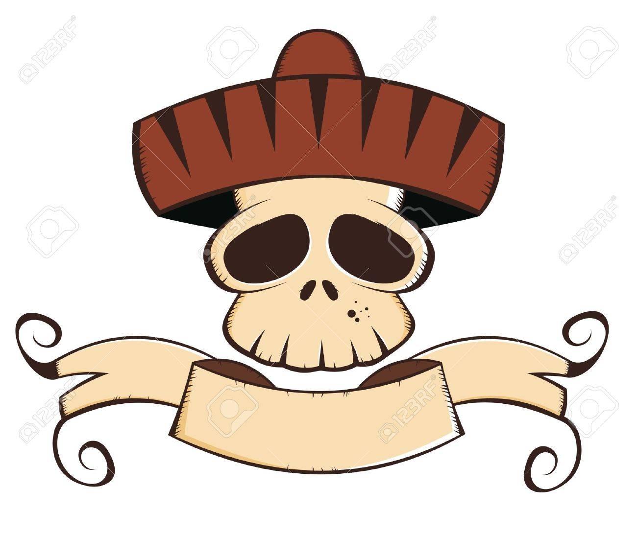mexican cartoon skull Stock Vector - 10374131