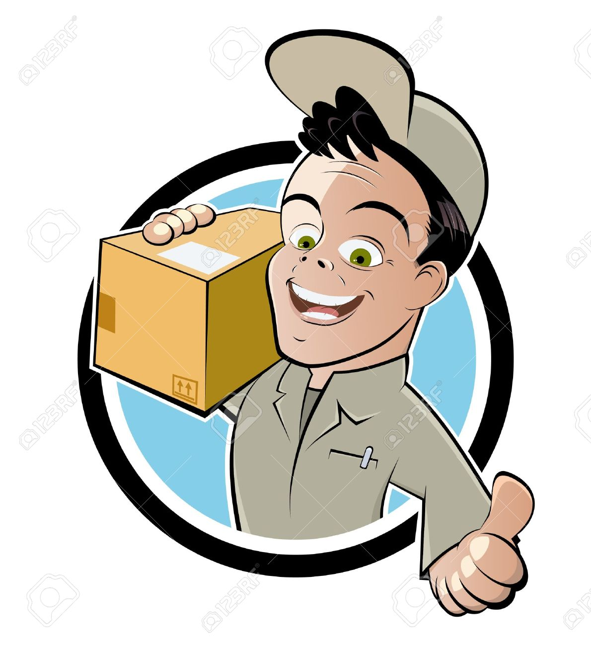 funny parcel service cartoon royalty free cliparts vectors and rh 123rf com clipart delivery man clipart delivery car
