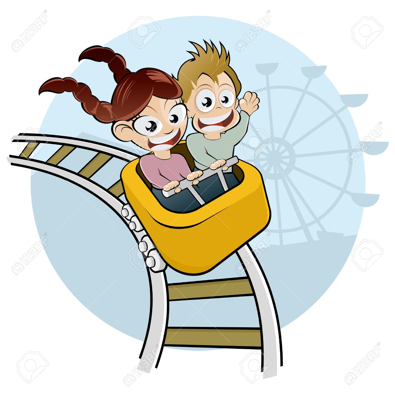 cartoon kids on rollercoaster royalty free cliparts vectors and rh 123rf com roller coaster clipart free roller coaster clipart cartoon