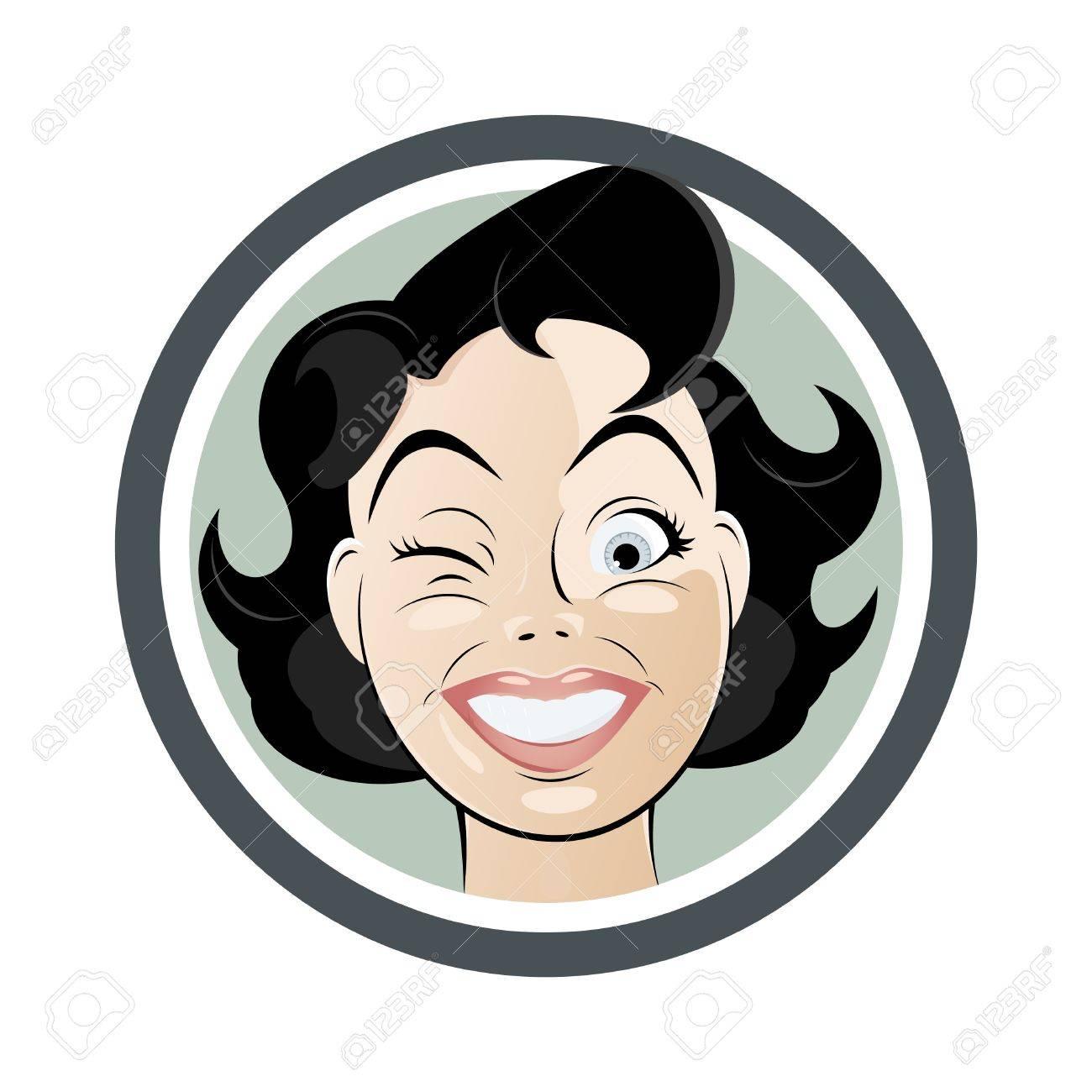 winking cartoon woman - 13206444