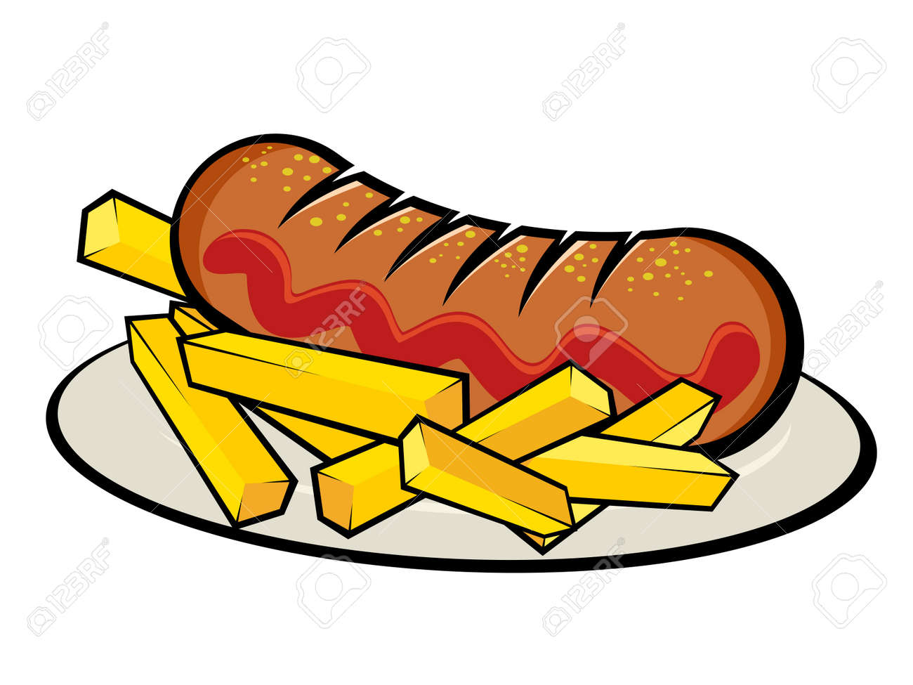 illustration of a german currywurst with french fries Standard-Bild - 20111642