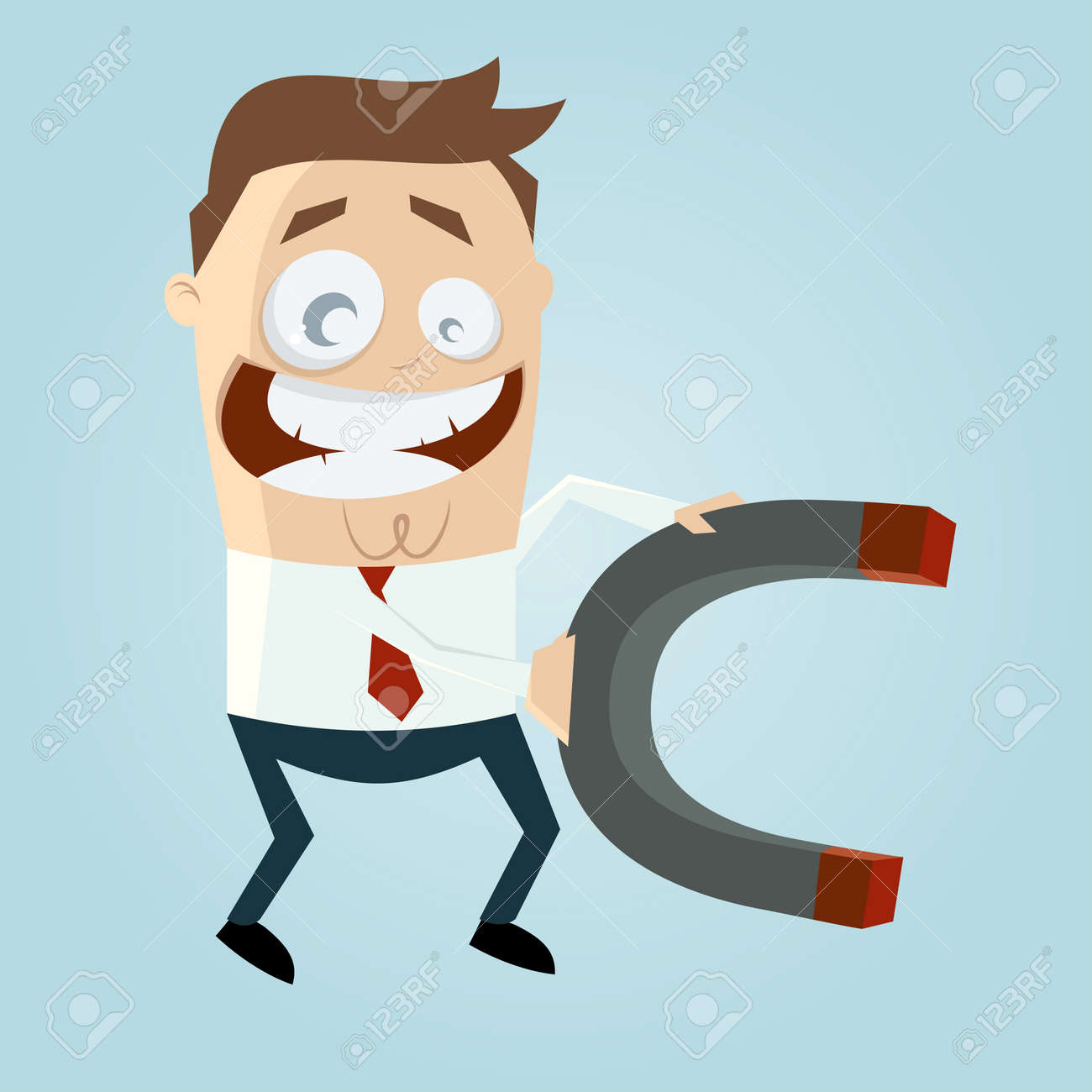 business cartoon man with big magnet royalty free cliparts vectors