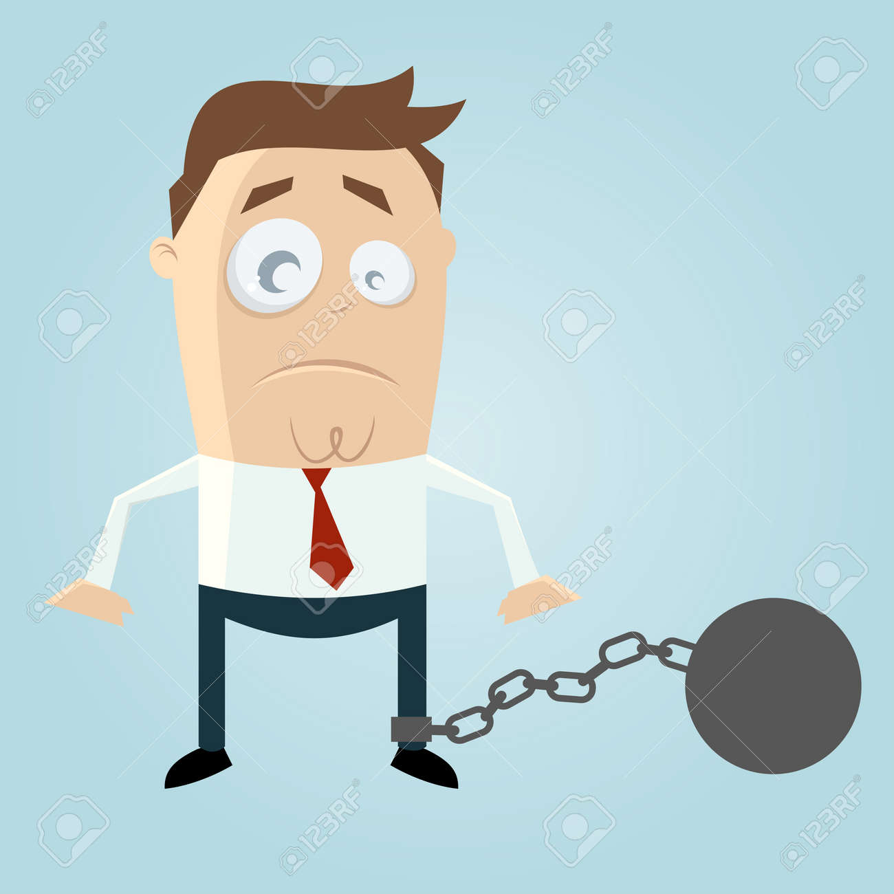 cartoon man in chains Stock Vector - 20111672