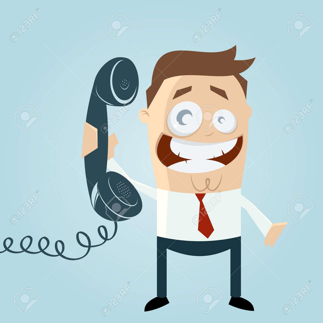 Retro Karikatur Mann mit Telefon Standard-Bild - 20111725