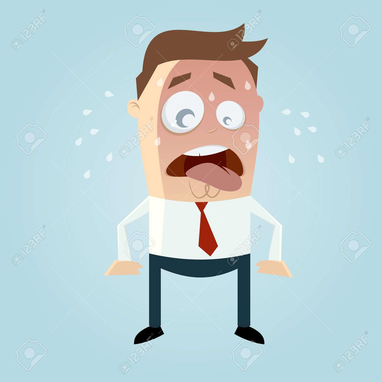 funny cartoon man is sweating Standard-Bild - 20104247