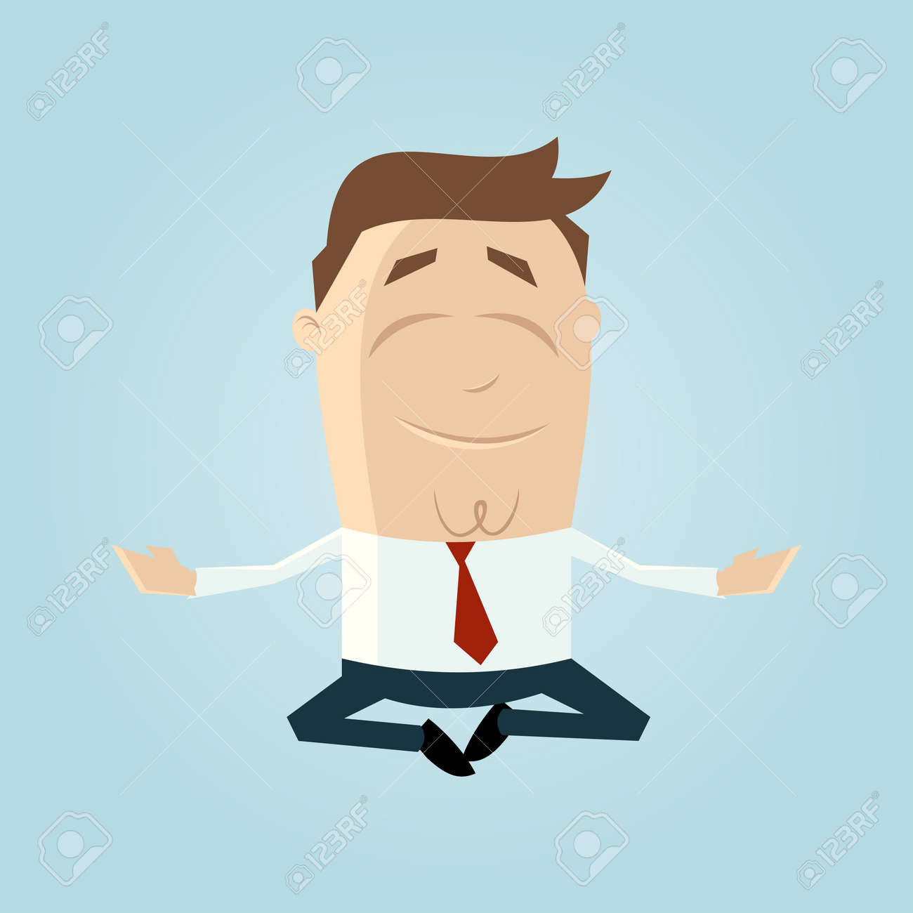 Funny cartoon man is doing yoga Stock Vector - 20104220