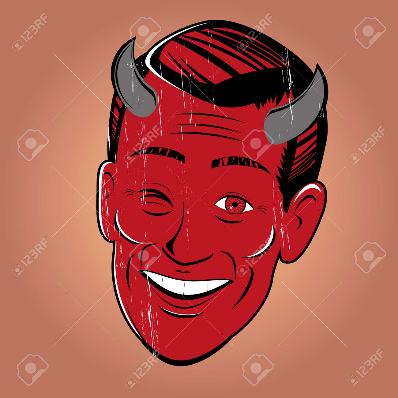 Devil Cartoon: Winking Cartoon Devil Illustration How To Draw A Demon Face  Easy Drawings For