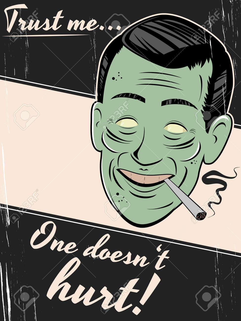 cigarette smoking man is giving an unhealthy advice Stock Vector - 20111907