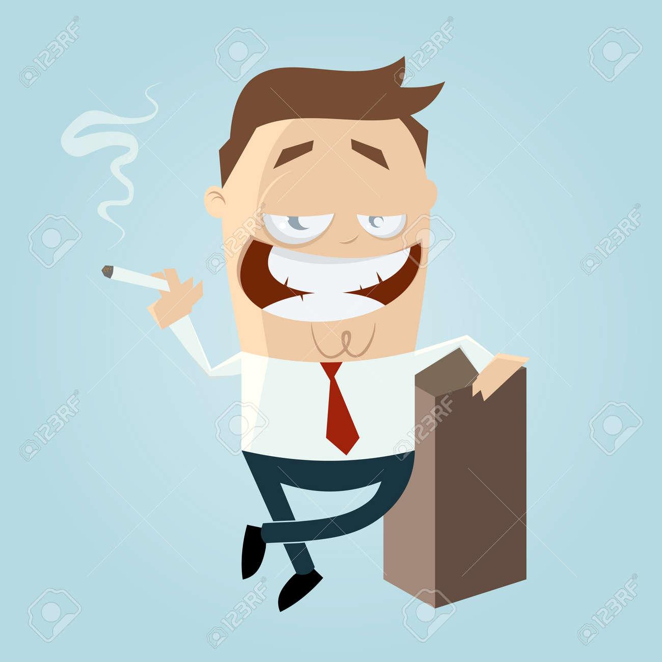 Cartoon-Mann ist das Rauchen Standard-Bild - 21645979