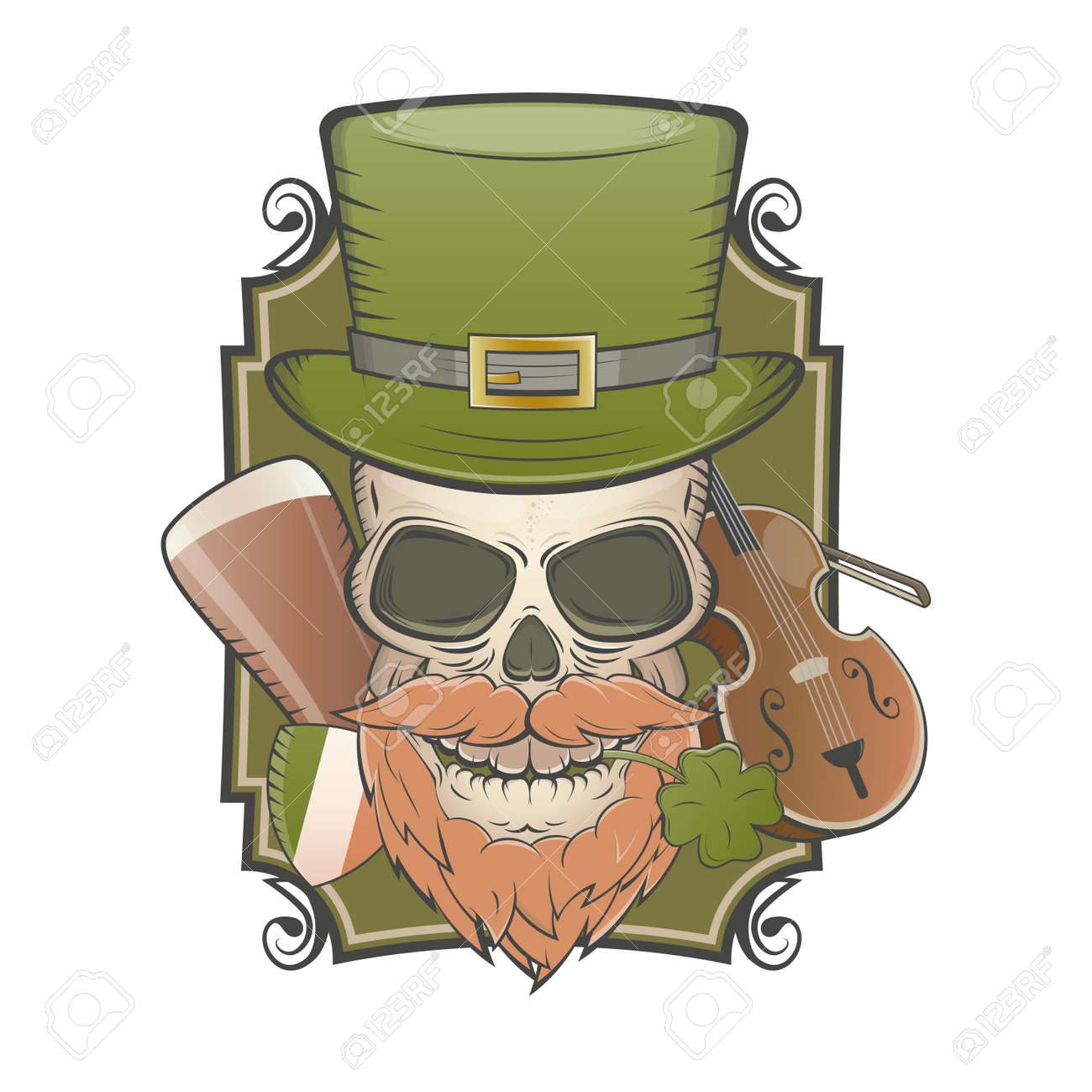 irish vintage skull Standard-Bild - 22469357