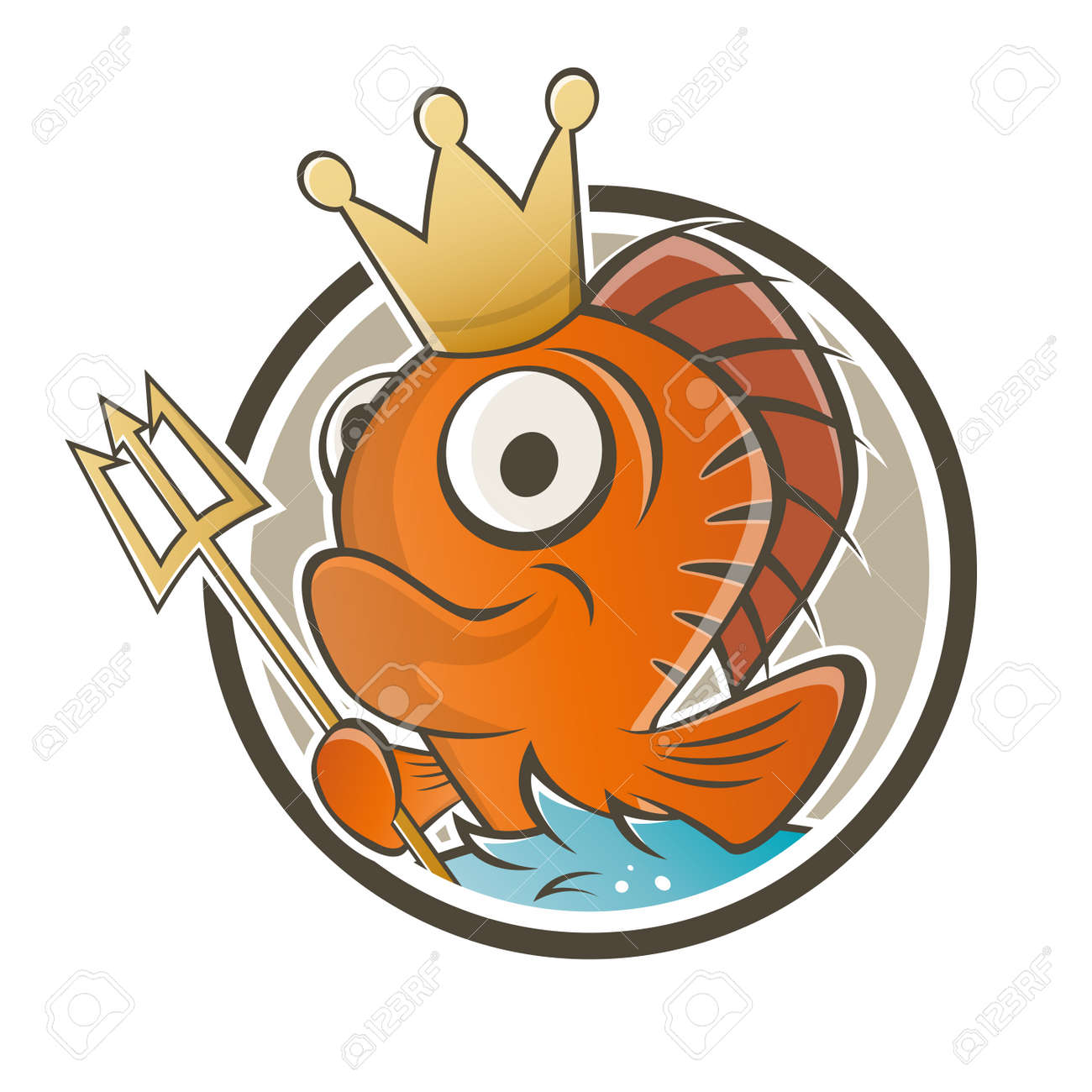 funny fish king cartoon royalty free cliparts vectors and stock rh 123rf com Puffer Fish Clip Art One Fish Two Fish Red Fish Blue Fish
