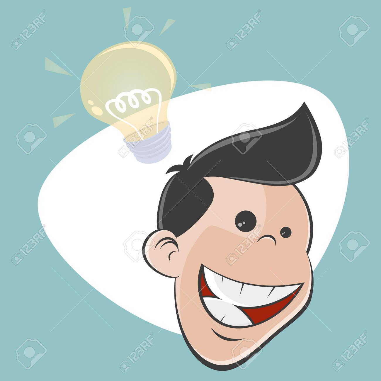 happy retro cartoon man has an idea Stock Vector - 25040684