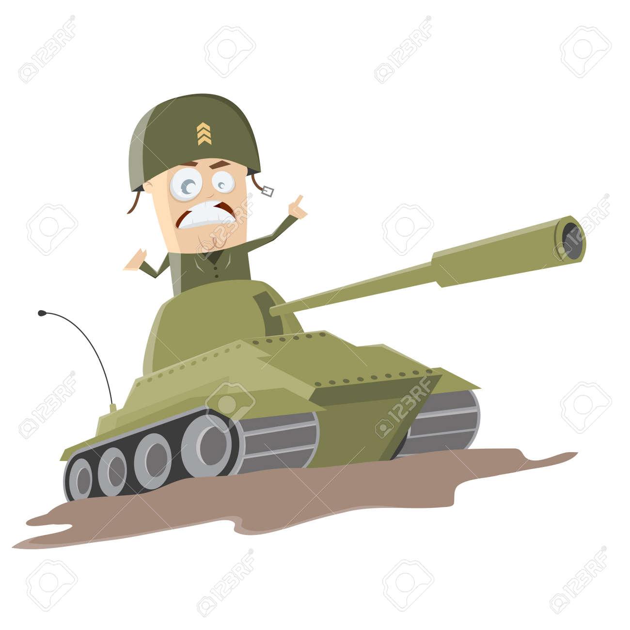 western cartoon soldier in a tank Standard-Bild - 25040700