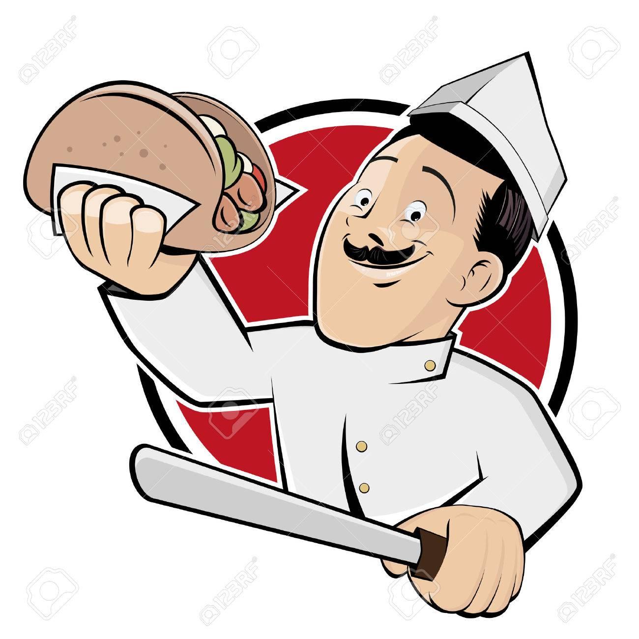 funny doner cartoon in a badge Standard-Bild - 26729984