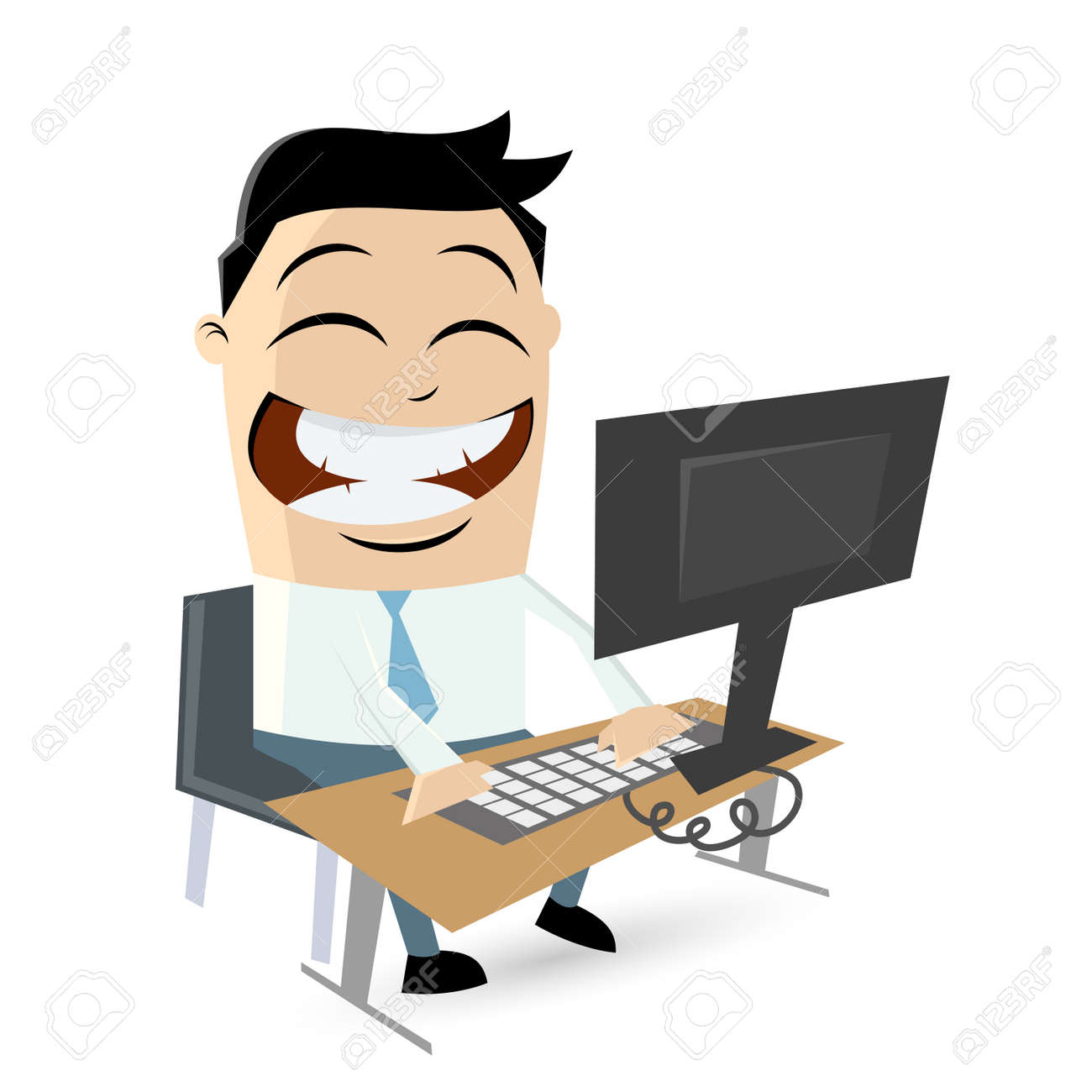 funny cartoon man sitting on computer Standard-Bild - 26729721