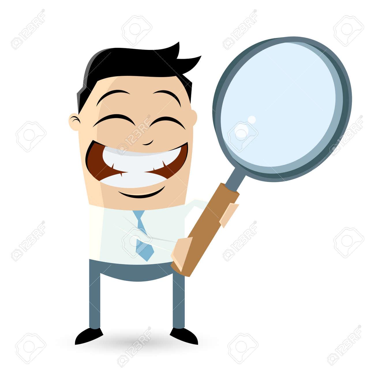 businessman with big magnifying glass Standard-Bild - 26729724
