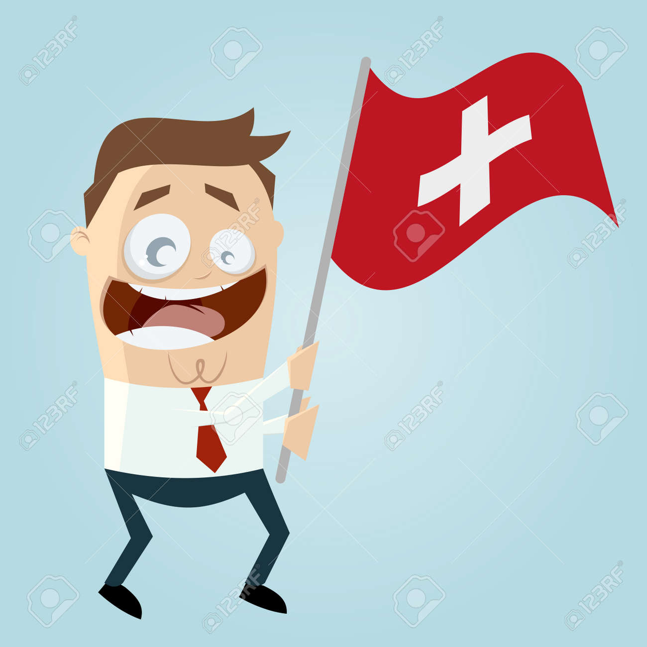 Happy Cartoon Man With Swiss Flag Royalty Free Cliparts, Vectors ...