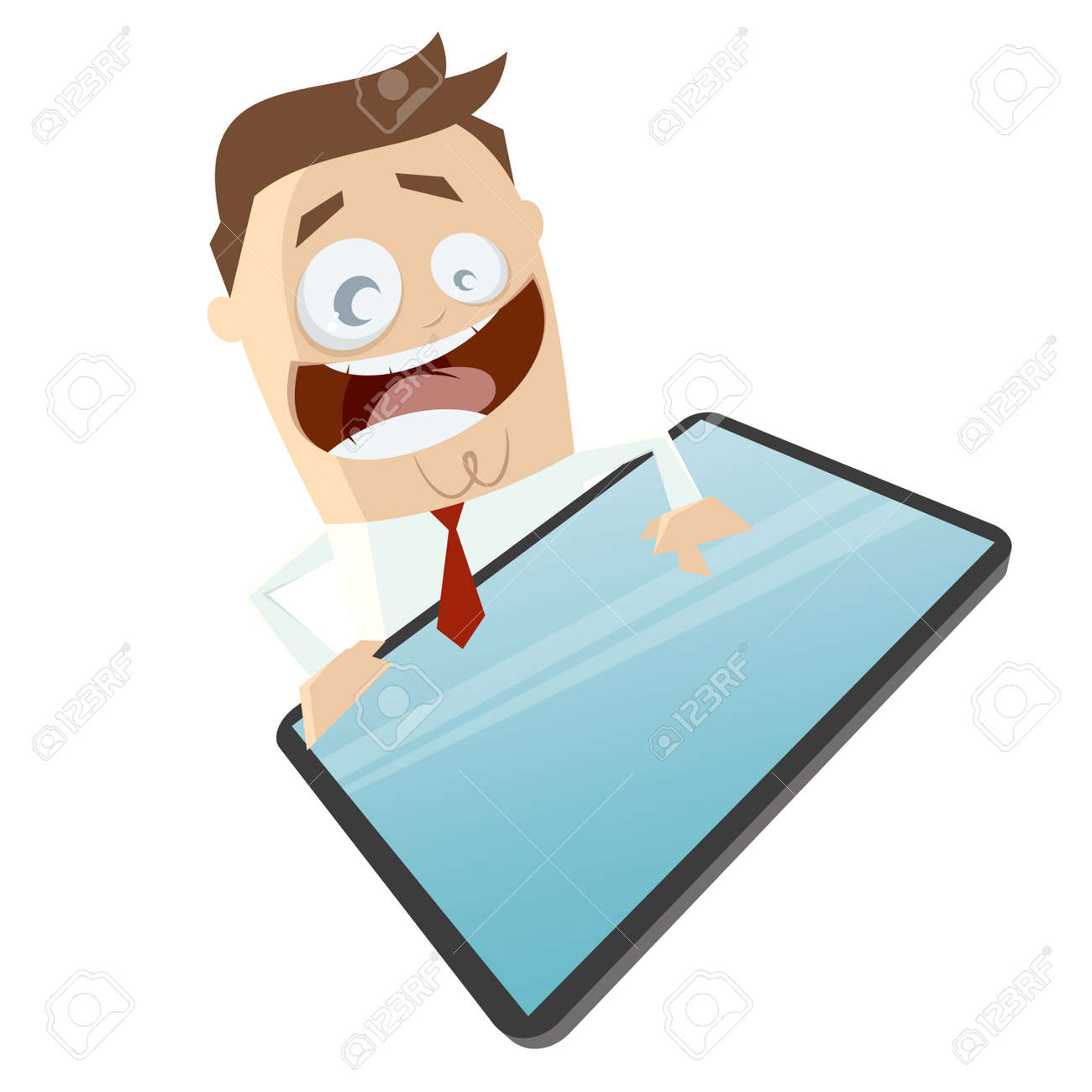 funny business man and a blank smart phone or tablet computer Standard-Bild - 31768504
