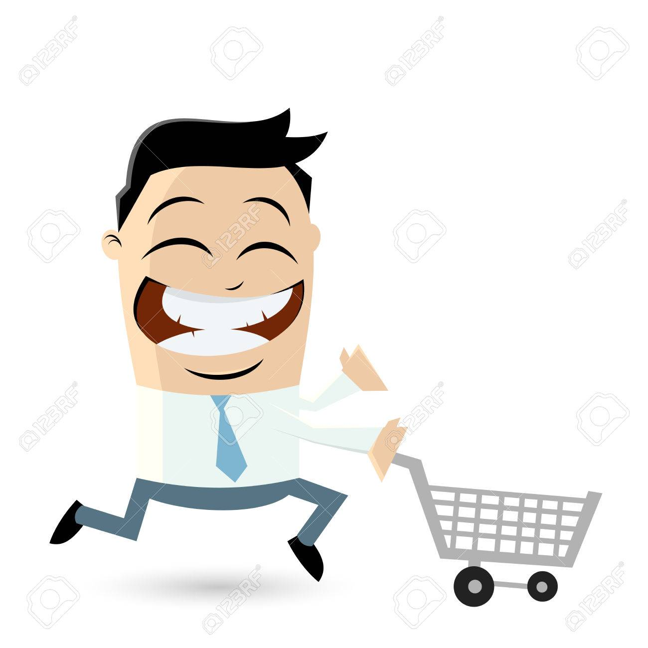 funny businessman with shopping cart Standard-Bild - 31239284
