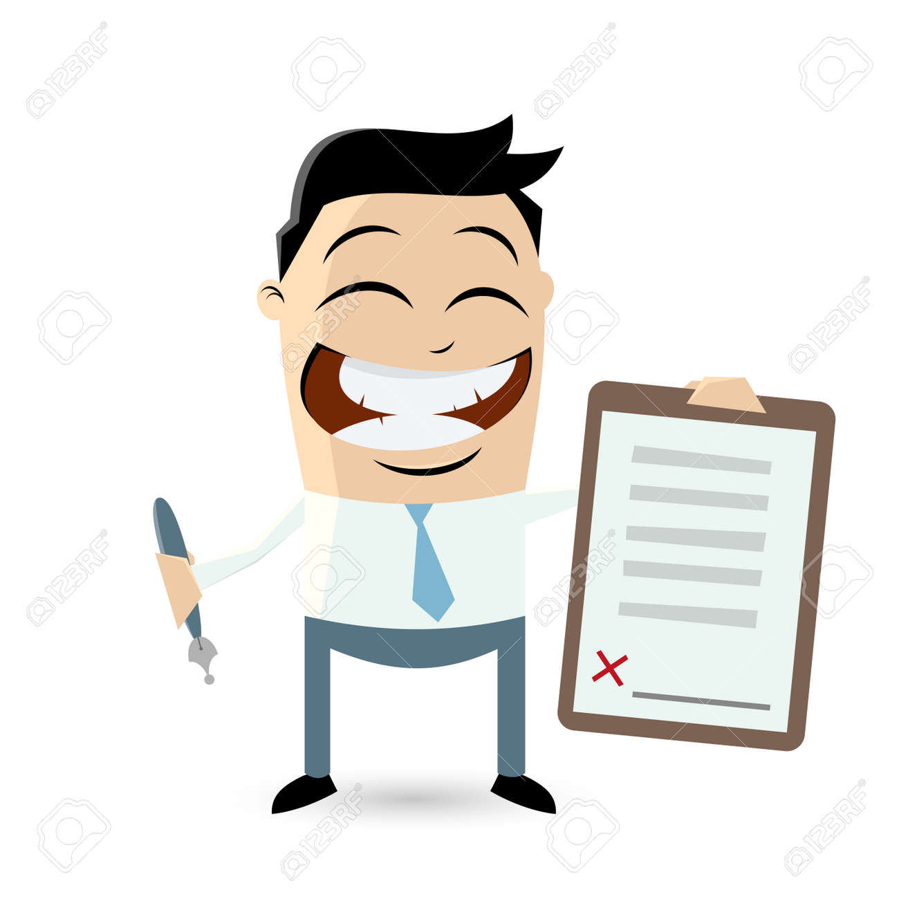 funny businessman with contract ready for signature - 31239194