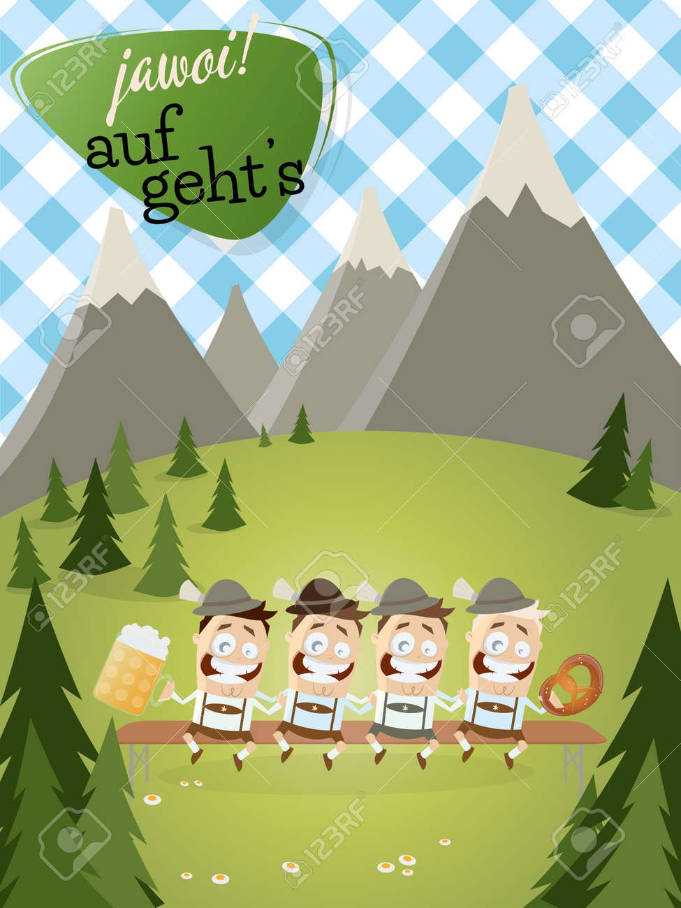 bavarian background with traditional people with beer Standard-Bild - 31239137