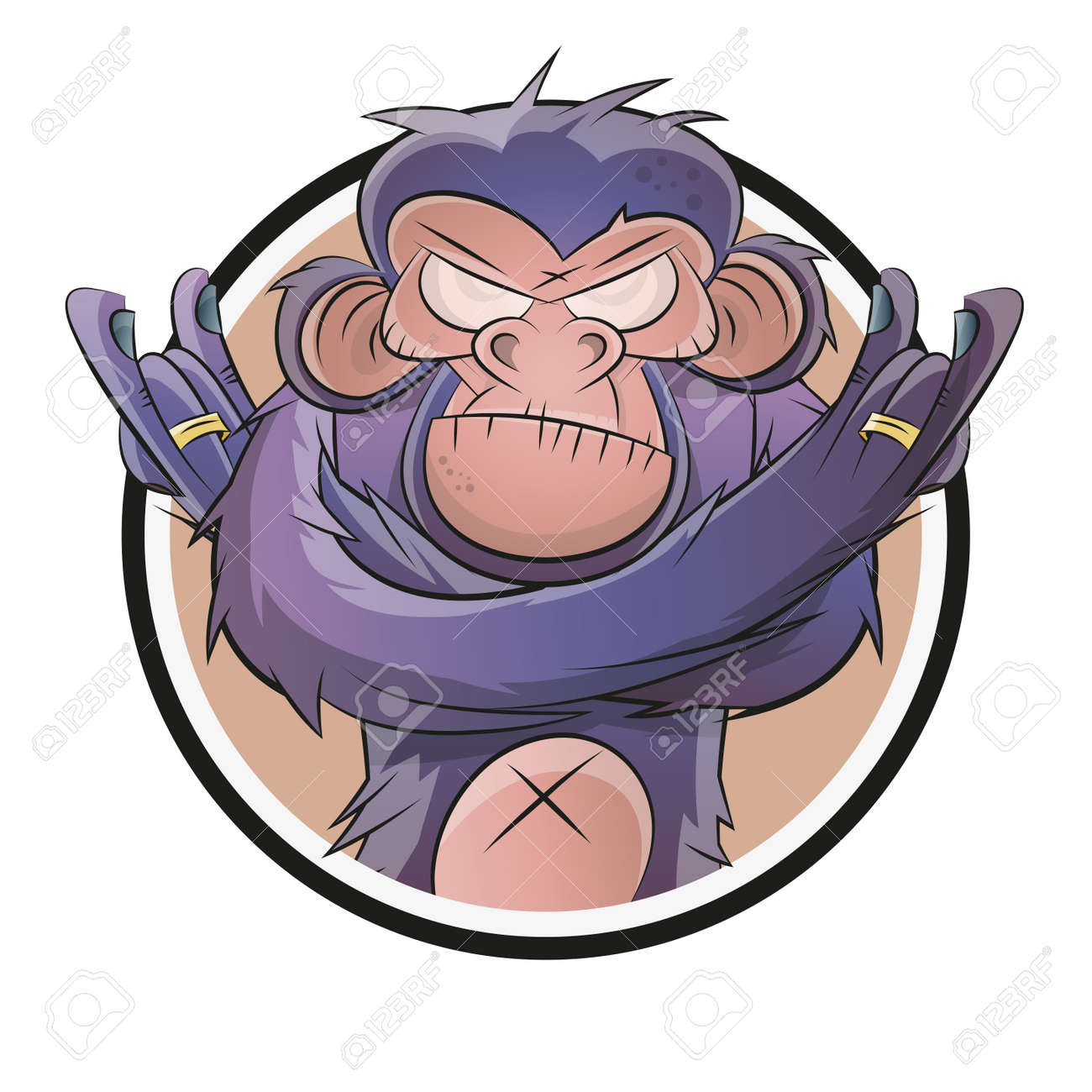 angry cartoon chimp in a badge Standard-Bild - 32043750