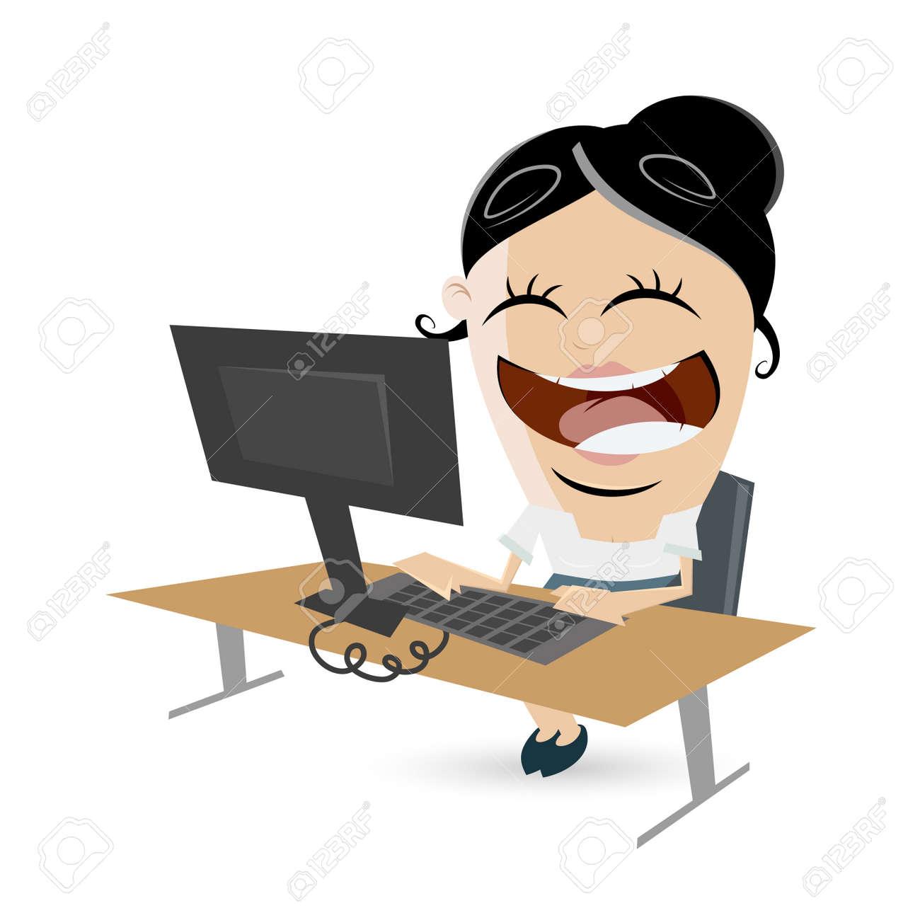 funny businesswoman sitting on desk Standard-Bild - 39198311