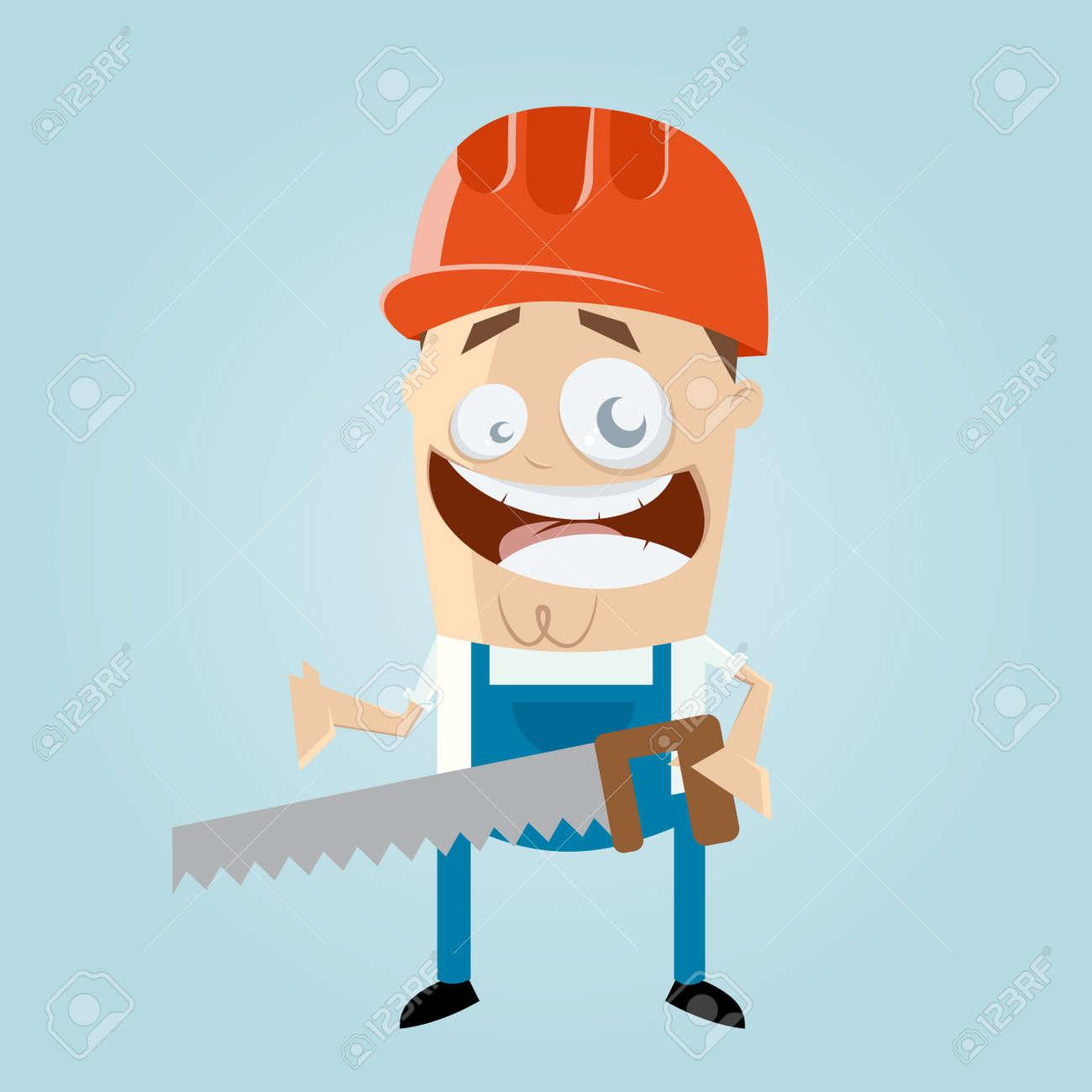 funny cartoon construction worker Standard-Bild - 38910836
