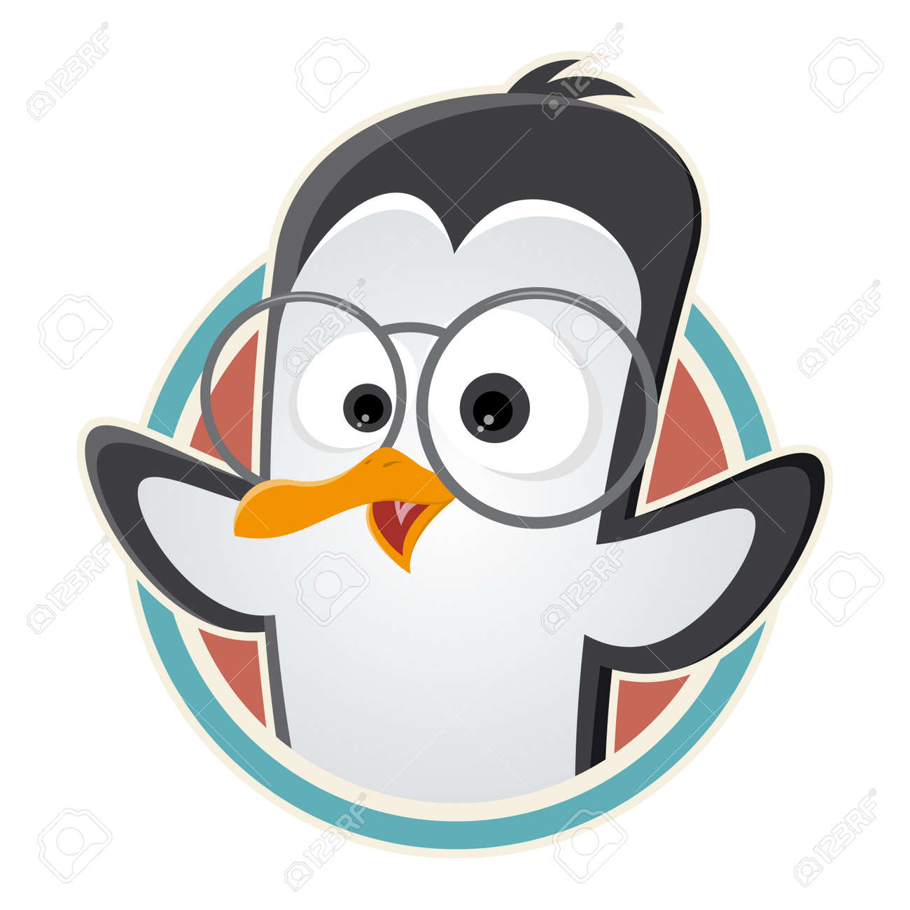 funny cartoon penguin with glasses in a badge royalty free
