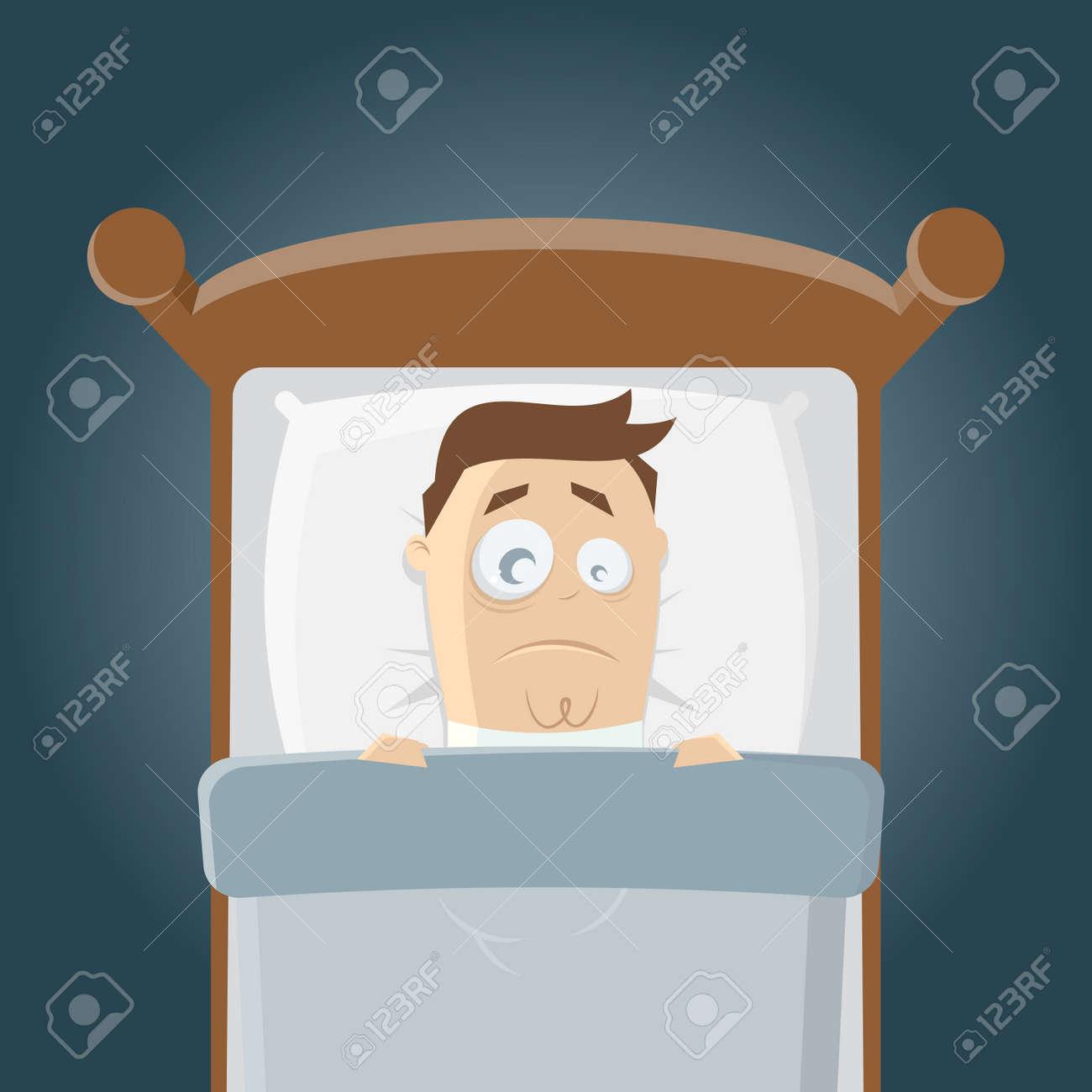 schlaflose Cartoon Mann im Bett Standard-Bild - 38675036