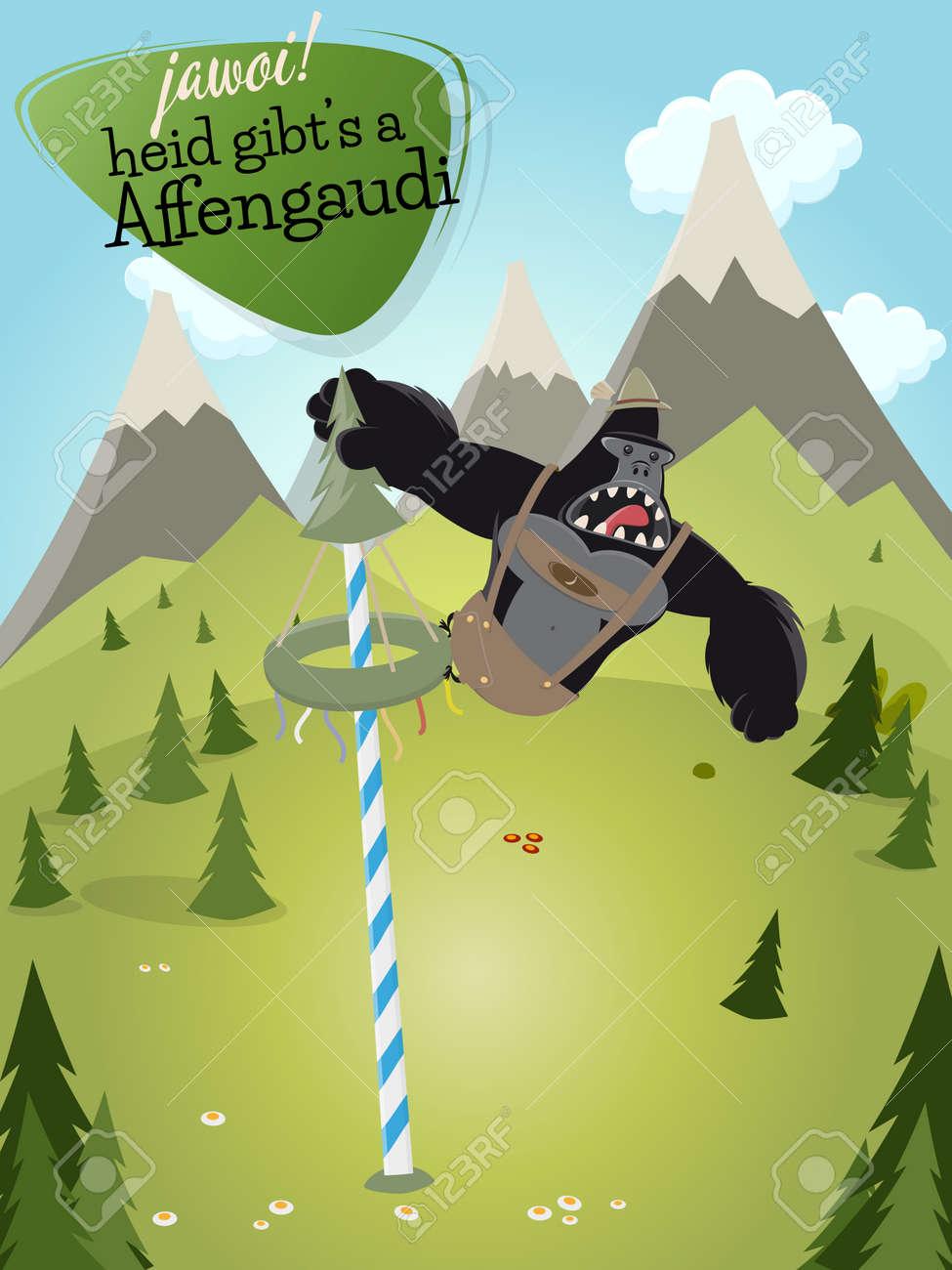 Vettoriale divertente gorilla cartone animato con segno che