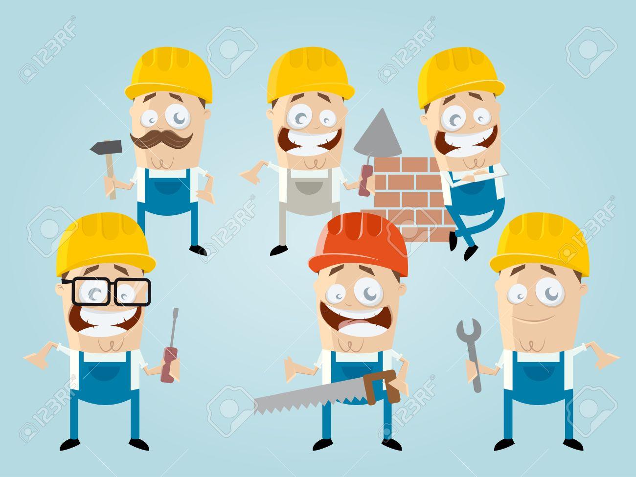funny cartoon construction worker team Standard-Bild - 42294781
