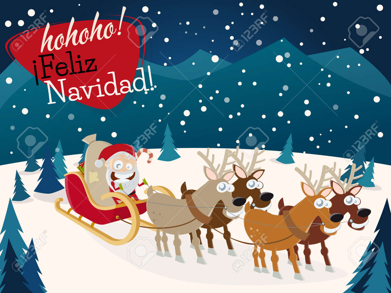 Christmas Wishes In Spanish.Spanish Christmas Greetings Feliz Navidad With Santa Claus And