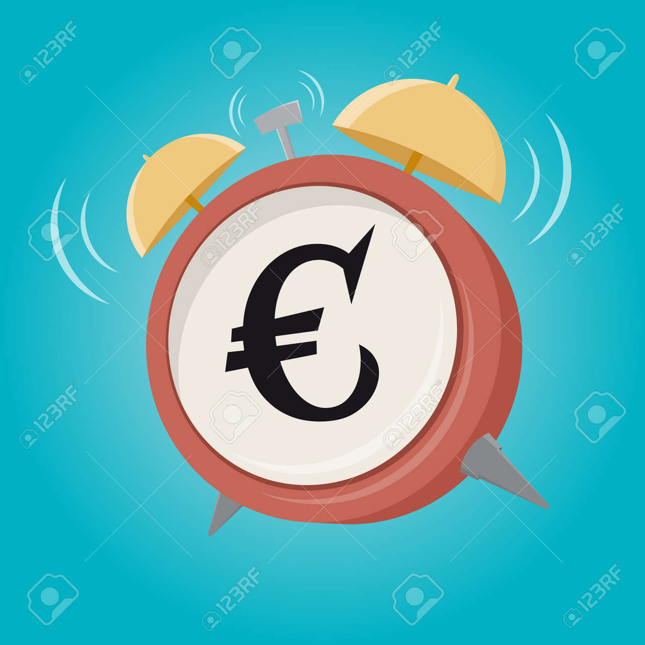 Euro Sign Cartoon Alarm Clock Royalty Free Cliparts Vectors And