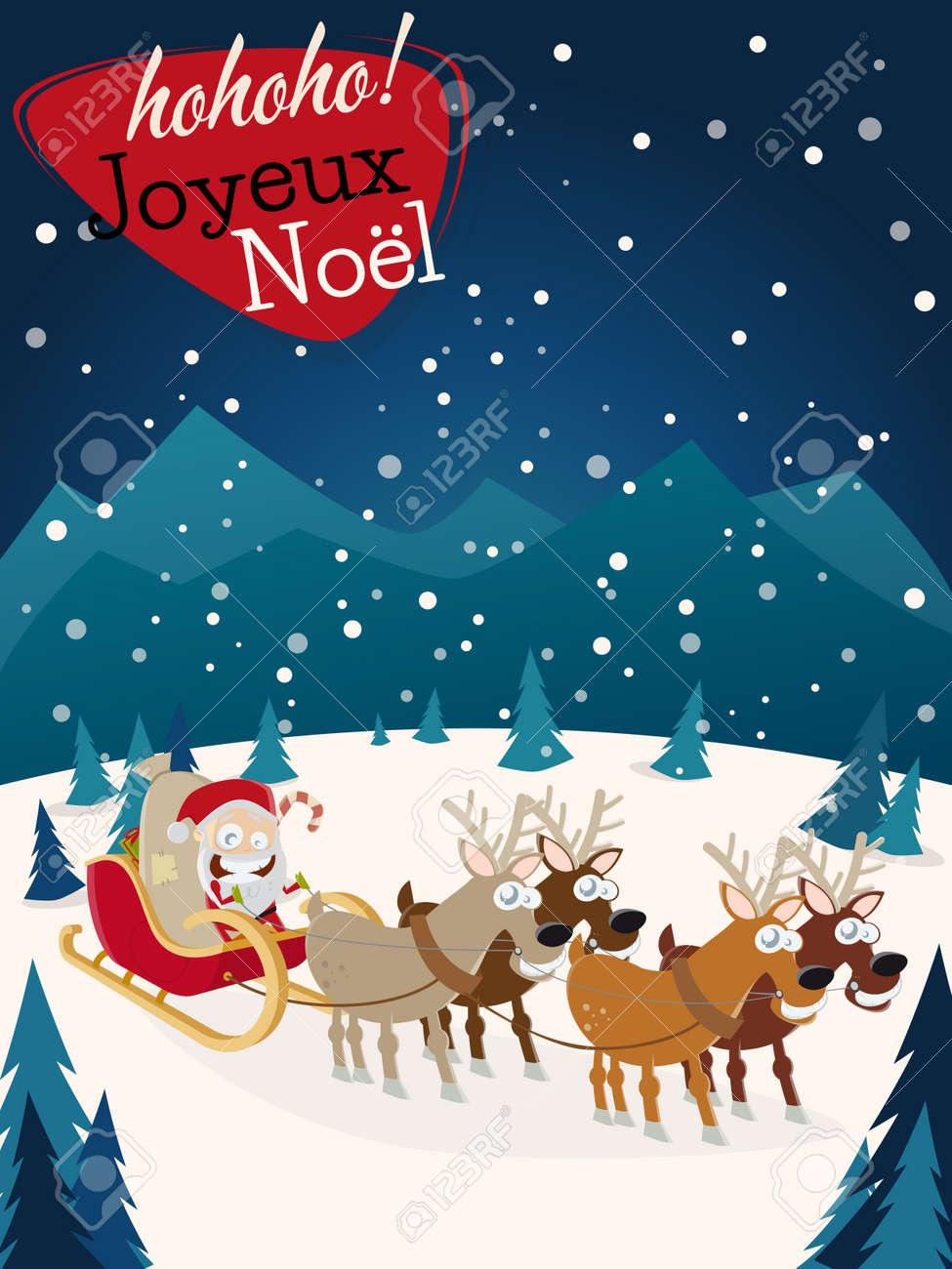 Weihnachtsgrüße In Französisch.Stock Photo