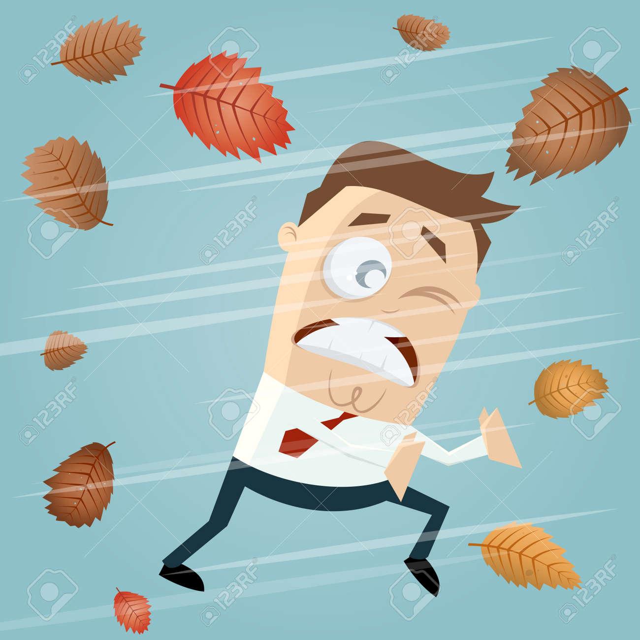 Geschäftsmann In Der Herbststurm Cliparts Lizenzfrei Nutzbare